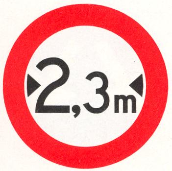Gesloten voor voertuigen die, met inbegrip van de lading, breder zijn dan op het bord is aangegeven