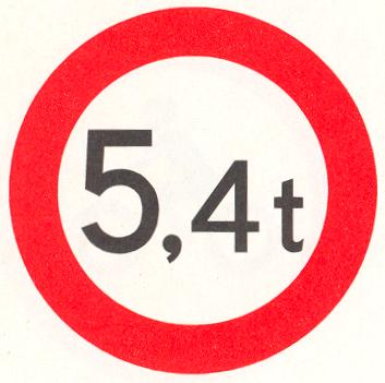 Gesloten voor voertuigen en samenstellen van voertuigen, waarvan de totaalmassa hoger is dan op het bord is aangegeven