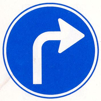 Gebod tot het volgen van de rijrichting die op het bord is aangegeven