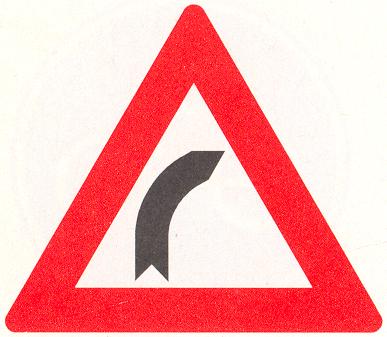 Let op: Bocht naar rechts
