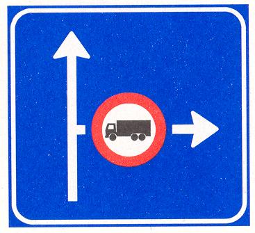 Vooraanduiding verkeersmaatregel voor de aangegeven richting