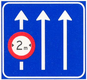 Verkeersbord geldt alleen voor de aangegeven rijstrook/rijstroken